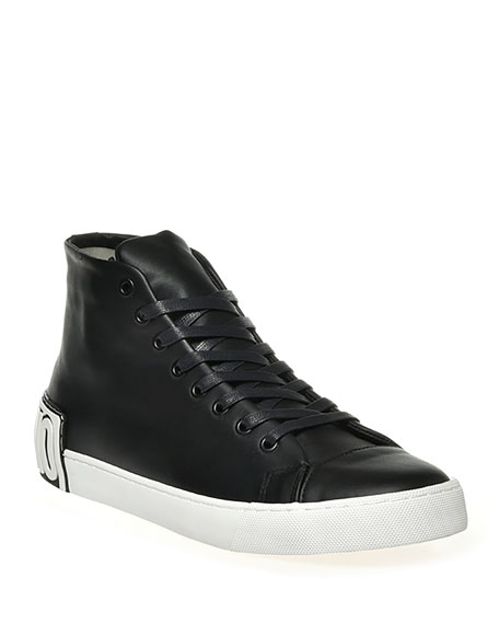 Moschino Men's Leather Logo High-Top Sneakers