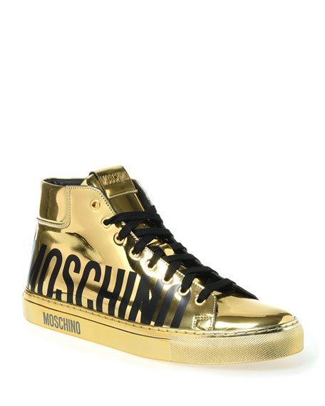 Moschino Men's Gold Mirror Logo Sneakers
