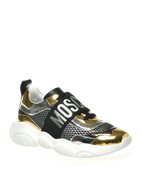 Moschino Men's Two-Tone Metallic Leather/Mesh Sneakers