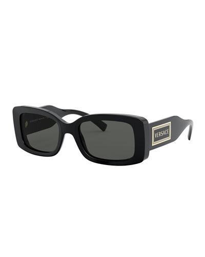 Men's Thick Rectangle Logo Sunglasses