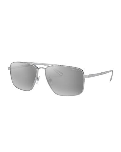 Men's Metal Square Mirror Aviator Sunglasses