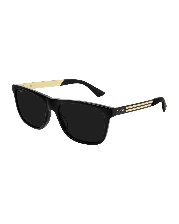Men's Square Acetate Logo Sunglasses