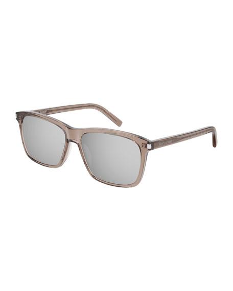Saint Laurent Men's Mirrored Translucent Rectangle Sunglasses