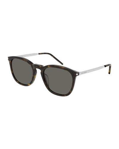 Men's Round Havana Acetate/Metal Sunglasses