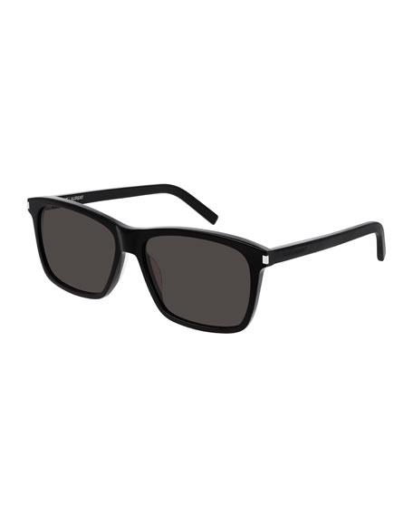 Saint Laurent Men's Rectangle Solid Acetate Sunglasses