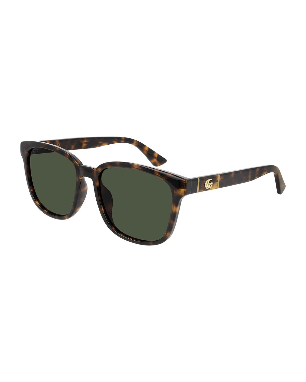 Men's Square Havana Acetate Sunglasses