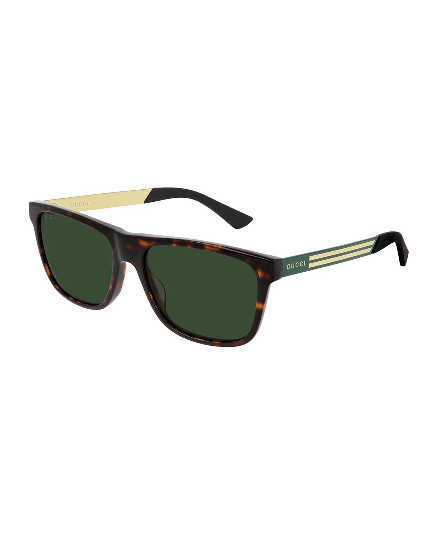 Men's Square Havana Logo Sunglasses