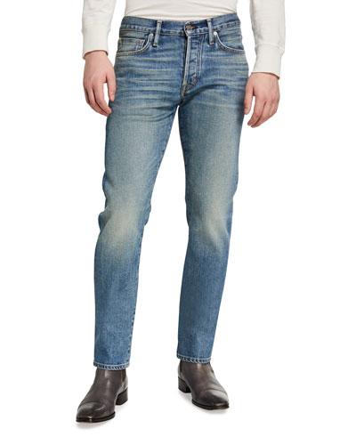 Men's New Indigo Washed Straight-Fit Denim Jeans
