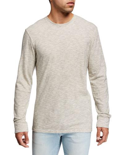Men's Lightweight Micro-Stripe Crewneck T-Shirt
