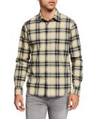 FRAME Men's Brushed-Cotton Plaid Twill Sport Shirt