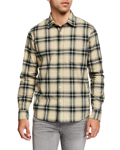 Men's Brushed-Cotton Plaid Twill Sport Shirt