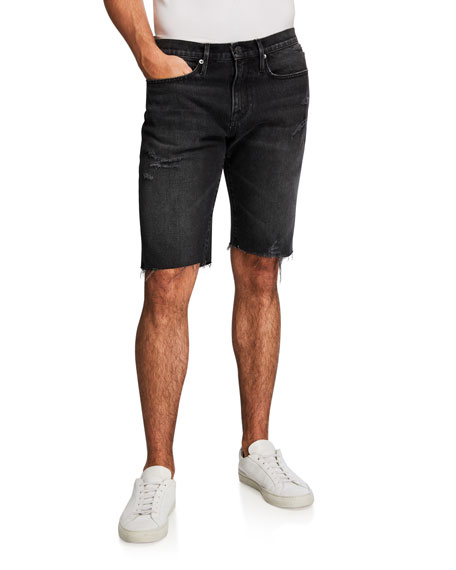 FRAME Men's L'Homme Dark-Wash Cutoff Shorts