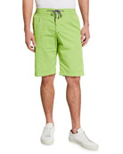 Canali Men's Drawstring Knee-Length Shorts, Lime