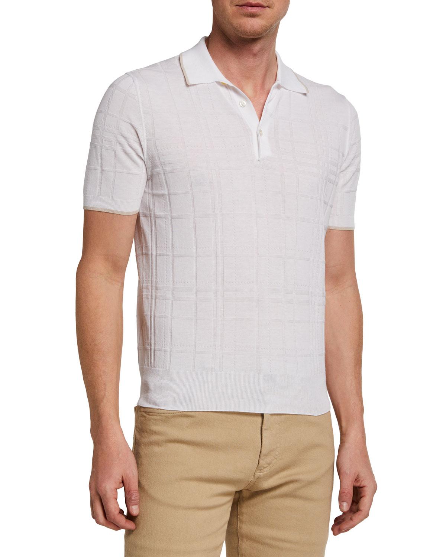 Men's Jacquard Cotton Polo Shirt