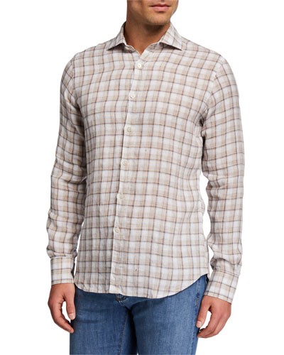 Men's Linen Check Sport Shirt