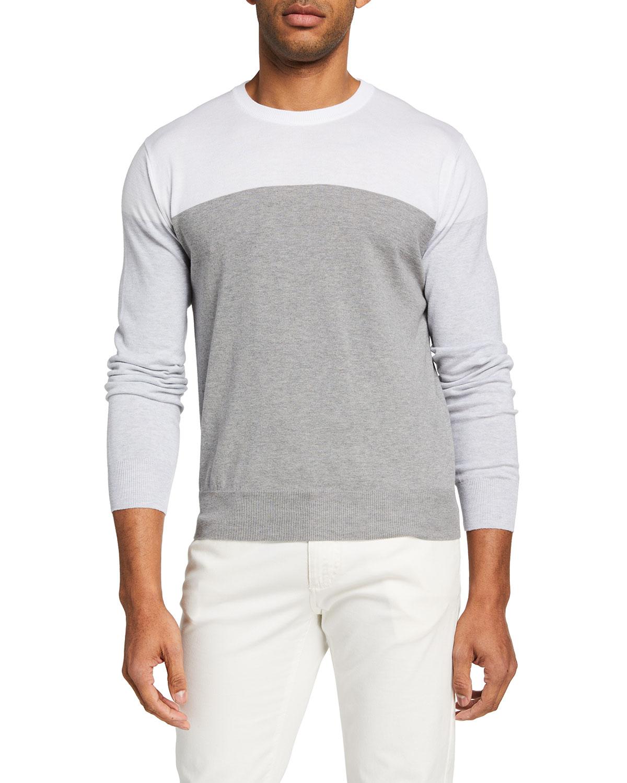 Men's Colorblock Cotton Crewneck Sweater
