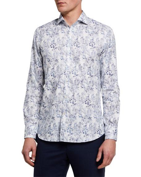 Canali Men's Tropic-Print Cotton Sport Shirt