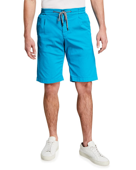 Canali Men's Drawstring Knee-Length Shorts, Aqua