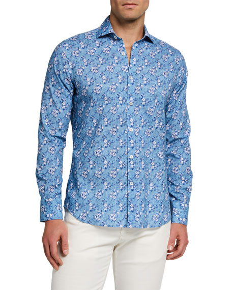 Canali Men's Floral Chambray Sport Shirt