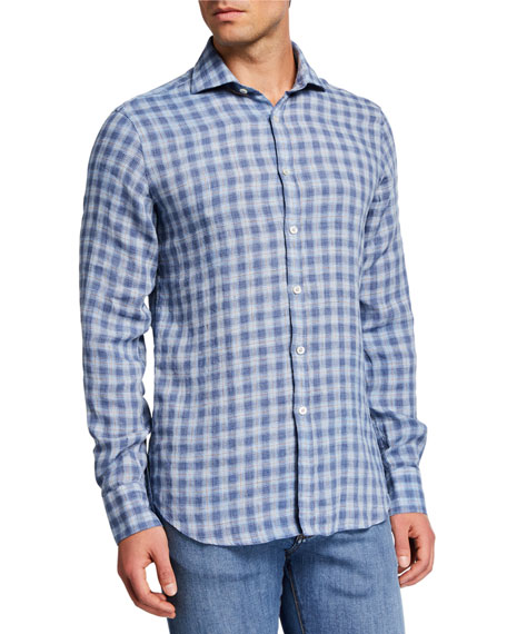 Canali Men's Linen Check Sport Shirt