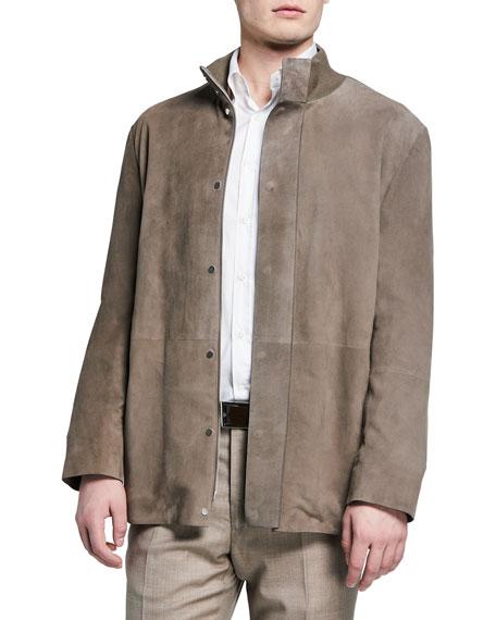 THE ROW Men's Warren Suede Hidden-Button Jacket