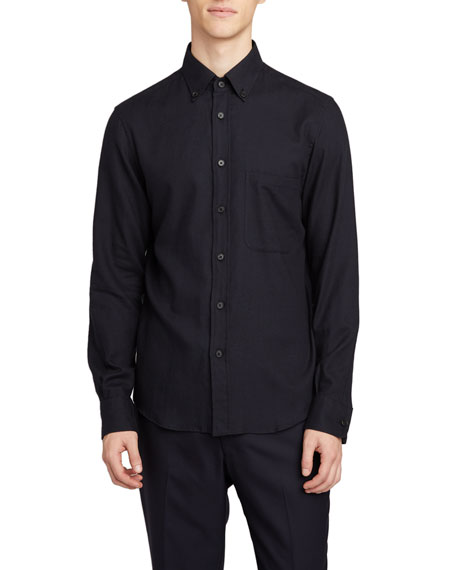 THE ROW Men's Vance Solid Point-Collar Sport Shirt