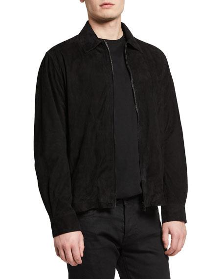THE ROW Men's Harvey Lamb Suede Zip-Front Shirt Jacket