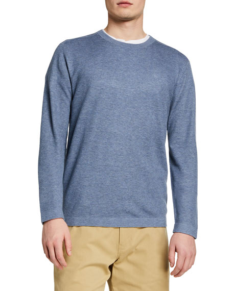 Vince Men's Solid Mesh-Front Crewneck Sweater