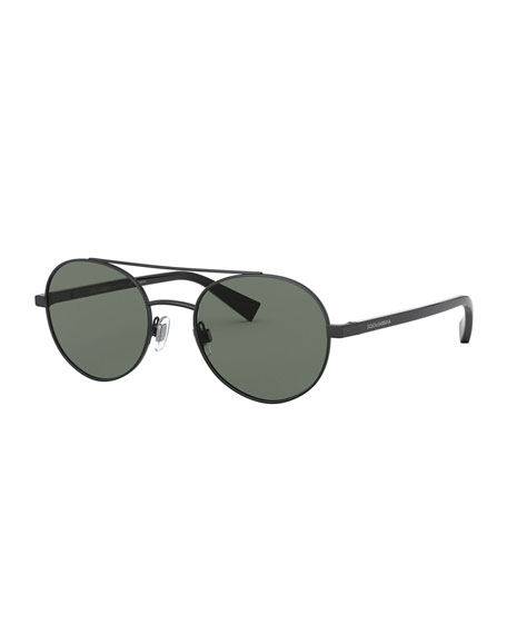 Dolce & Gabbana Men's Round Steel Polarized Sunglasses