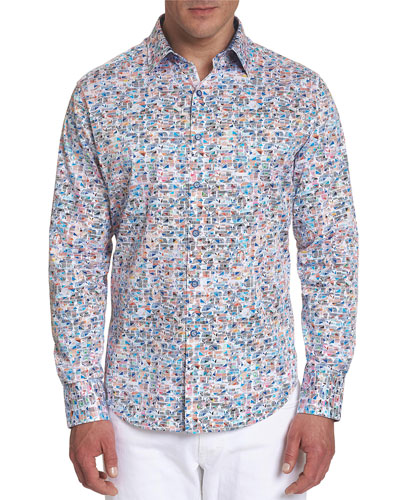 Men's Limitless Geometric-Print Sport Shirt