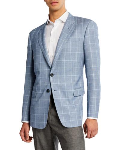 Men's Tonal Windowpane Wool Sport Coat