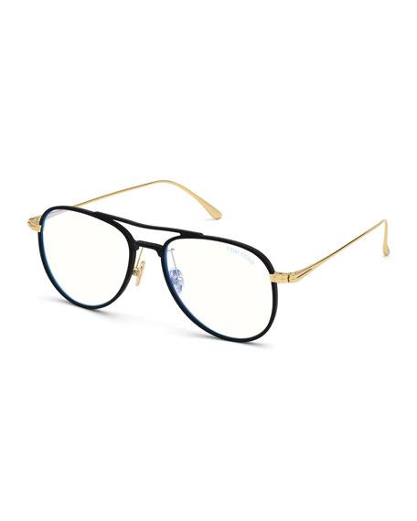 TOM FORD Men's Acetate Aviator Glasses with Blue Block Lenses