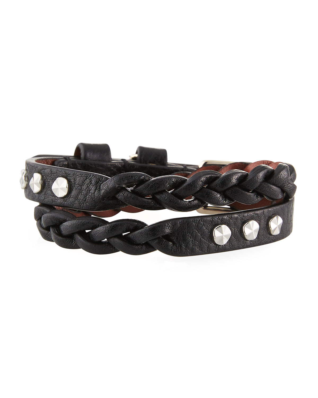 Men's Braided Leather Wrap Bracelet w/ Skull Charm
