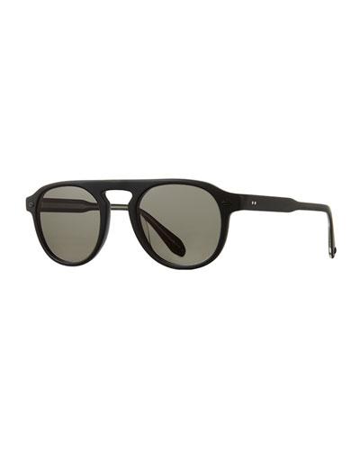 Men's Harding 47 Matte Round Keyhole Sunglasses