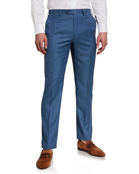 Brioni Men's Sharkskin Flat-Front Pants