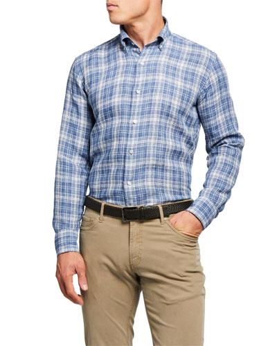 Men's Avignon Plaid Linen Sport Shirt