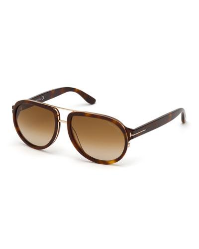 Men's Geoffrey Havana Acetate/Metal Aviator Sunglasses