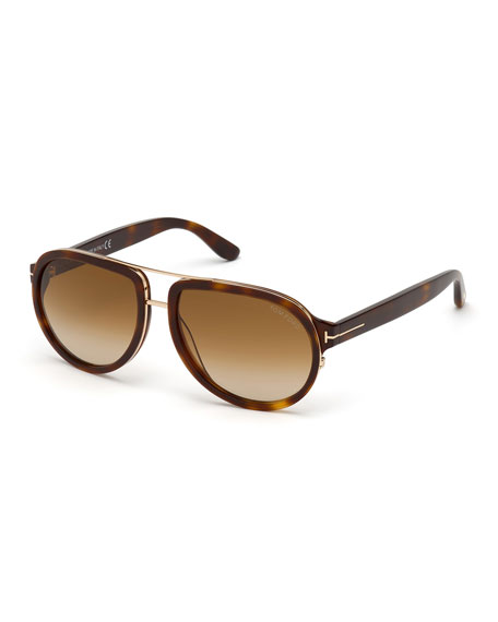 TOM FORD Men's Geoffrey Havana Acetate/Metal Aviator Sunglasses