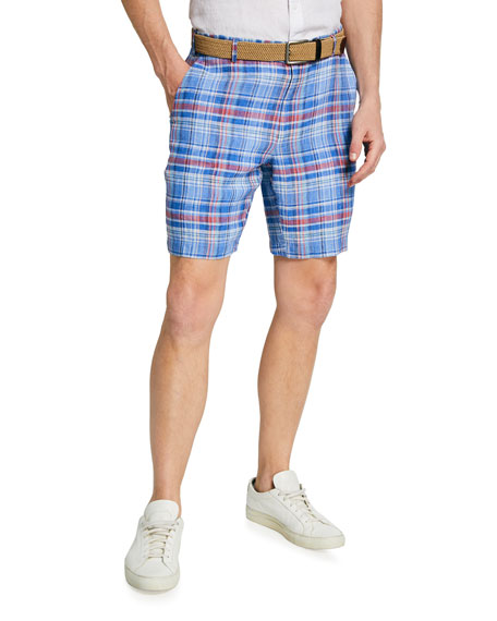 Peter Millar Men's Seaside Madras Plaid Linen Shorts