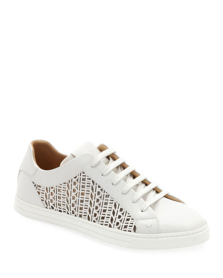 Fendi Men's Laser-cut Logo Low-Top Sneakers