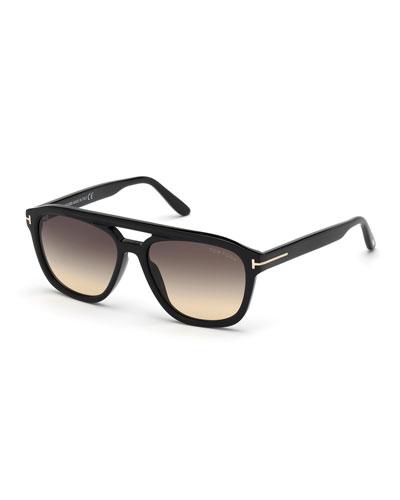 Men's Gerrard Gradient Square Aviator Sunglasses