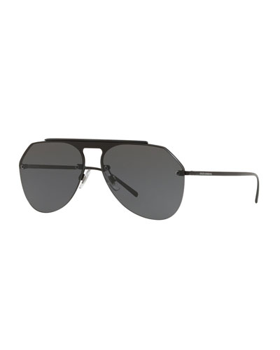 Men's Rimless Keyhole Brow Bar Aviator Sunglasses