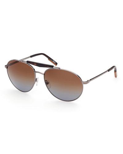 Men's Gradient Double-Bridge Metal Aviator Sunglasses