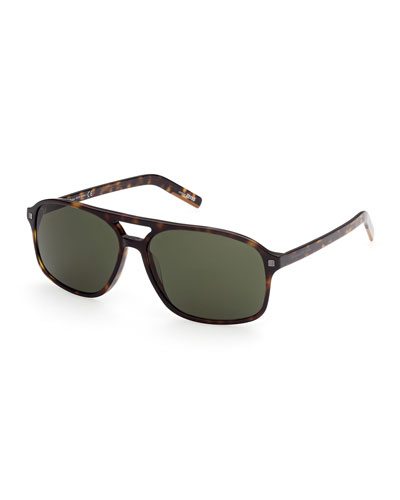 Men's Tortoiseshell Double-Bridge Aviator Sunglasses
