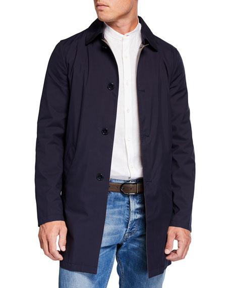 Mandelli Men's Silk Rain System Raincoat w/ Lamb Leather