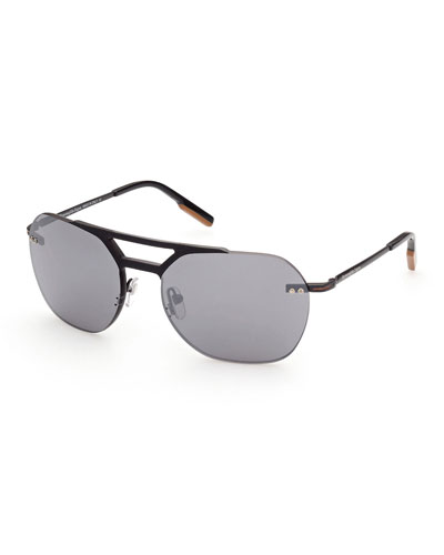 Men's Rimless Metal Aviator Sunglasses