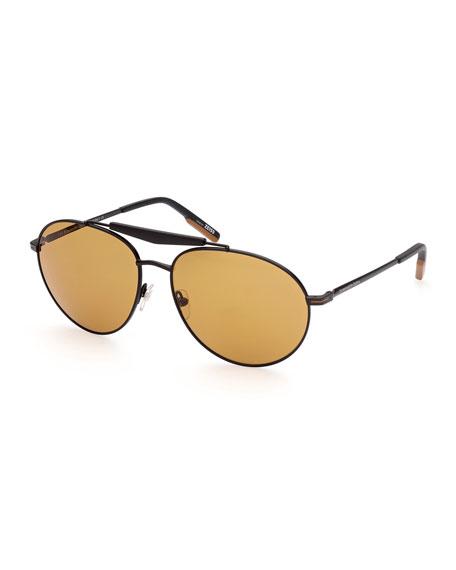 Ermenegildo Zegna Men's Metal Double-Bridge Aviator Sunglasses