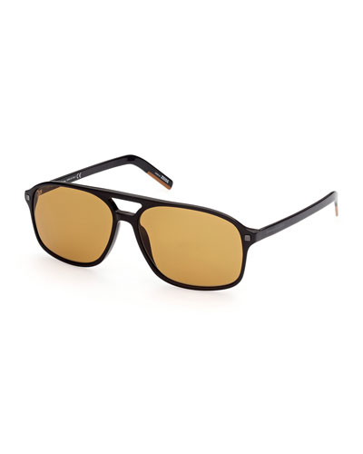 Men's Solid Double-Bridge Aviator Sunglasses