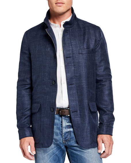 Mandelli Men's Wool-Blend Field Jacket w/ Suede
