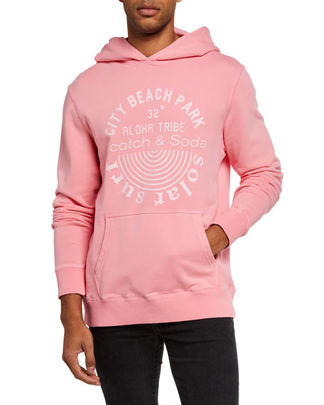 Scotch & Soda Men's Garment-Dyed Typographic Pullover Hoodie
